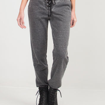 Laced Up Comfy Joggers - Charcoal /