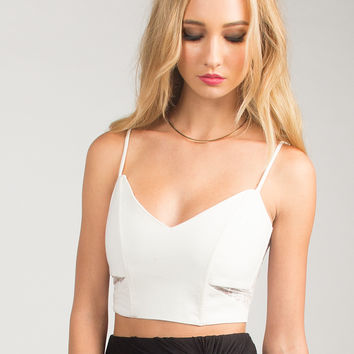 Corset Cropped Top - Ivory - Ivory /