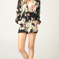 LONG SLEEVE FLORAL CUT OUT ROMPER
