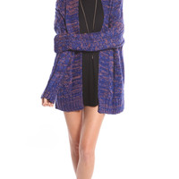 ROYAL TWO TONE CHUNKY CABLE KNIT CARDIGAN