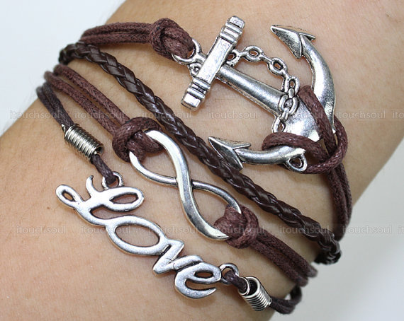 Kama - silver bracelet karma silver anchor bracelet infinity bracelet couple bracelet dark brown leather bracelet