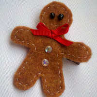 Gingerbread man hair clip