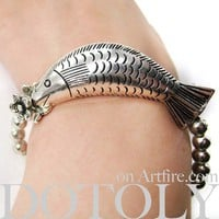 Fish Animal Jewelry Stretchy Bracelet in Silver