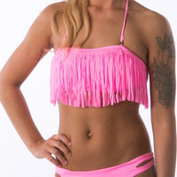Pink Fringe swimsuits with cut out sexy bikini