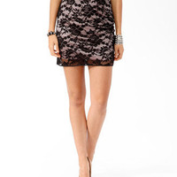 Contrast Lace Overlay Skirt