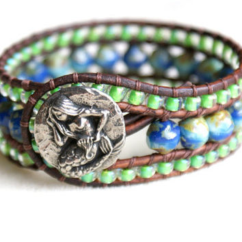Mermaid leather cuff bracelet, Chan Luu Style, trendy, boho chic, dark blue, green, turquoise, cobalt, aqua blue, picasso