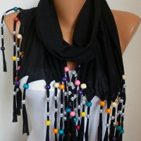 Bead Scarf -  scarf shawl - Sale scarf  - Free scarf - Black - fatwoman