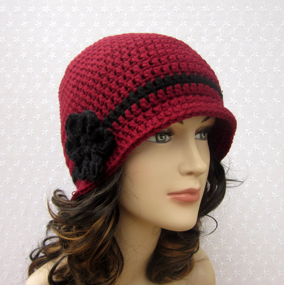 Cranberry Red Crochet Hat - Womens Cloche from Color My World