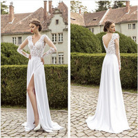 Sexy deep V-sleeved wedding dress lace bridal gown wedding dress beach wedding dress before incision formal evening dress