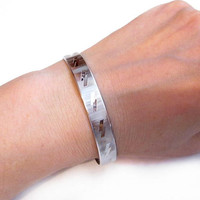 Vintage Silver Bracelet, Cut Steel Metal Bangle