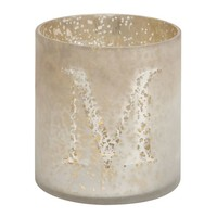 MERCURY GLASS ALPHABET VOTIVE CUP