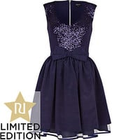 navy sequin longer length dress
