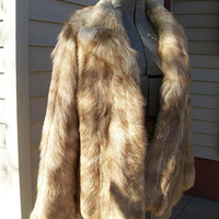 Vintage Russian RED WOLF Fur Coat Short Length