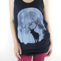 Deer The Moon Night Deer Shirt -- Animal Design Animal T-Shirt Black T-Shirt Women T-Shirt Tank Top Tunic Deer T-Shirt Size L