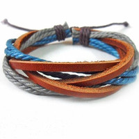 fashion leather bracelet woven bracelet women bracelet men bracelet made of  Cotton Rope and leather Woven wrist bracelet SH-0243