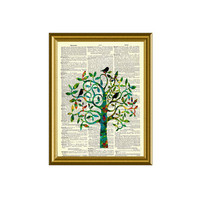Vintage Dictionary Page Art Three in a Tree Series