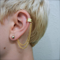Simple Gold Ear Cuff - Double Chain on Earring Back