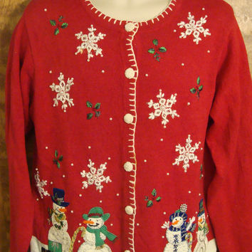 Snowmen Giving Gifts Ugly Christmas Sweater