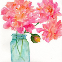 Pretty Yellow and Pink  Peonies in Aqua Canning Jar Floral Watercolor Painting, Original Flowers painting