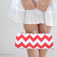 Chevron in Red -- X Large Clutch-- Ready to Ship