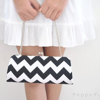 Chevron in Black-- X Large Clutch-- Ready to Ship