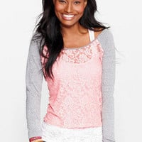 Floral Lace Front Long Sleeve