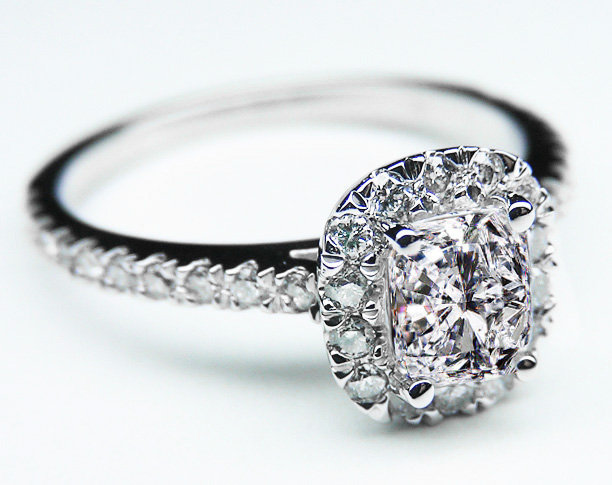 Engagement Ring - Cushion Diamond Vintage Halo Engagement Ring 0.68 tcw. In 14K White Gold - ES600CUWG