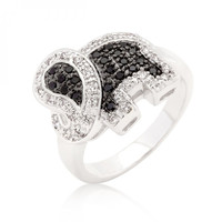 Black And White Cubic Zirconia Elephant Ring (size: 06) - Black And White Cubic Zirconia Elephant Ring (size: 06) / Silver, Black, Clear