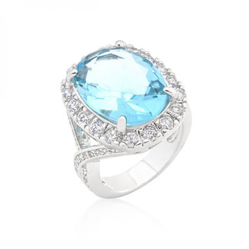Oval Blue Topaz Cocktail Ring (size: 07) - Oval Blue Topaz Cocktail Ring (size: 07) / Silver, Light Blue, Clear