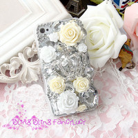 iPhone 4 case Luxury iPhone 4 case Crown bling crystal iphone 4s case flower iphone case cover big diamonds hard case skin