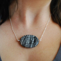 Grey Oval Jasper Necklace. Zebra Jasper.