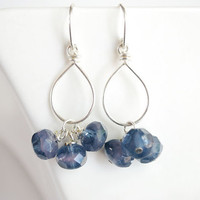 Blue Glass Dangle Earrings. Periwinkle Earrings.
