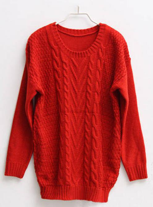 Twist Round Neck Red Sweater$45.00