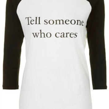 Tell Someone Who Cares Raglan Top by Tee and Cake - Ecru