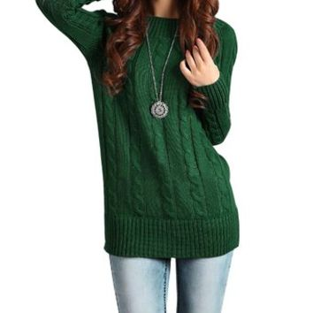 Little Hand Womens Long Sleeve Knit Stretch Casual Pullover Sweaters Green