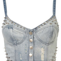 MOTO Bleach Stud Denim Bralet - Bralets &amp; Bandeaus - Jersey Tops  - Apparel