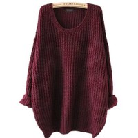 ARJOSA women pullovers sweater (#1 Wine Red)