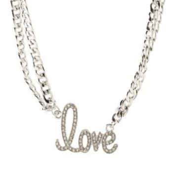 Rhinestone Love Double Chain Necklace by Charlotte Russe - Silver