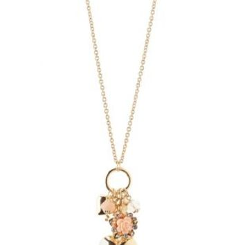 Rosette & Heart Cluster Charm Necklace by Charlotte Russe - Gold