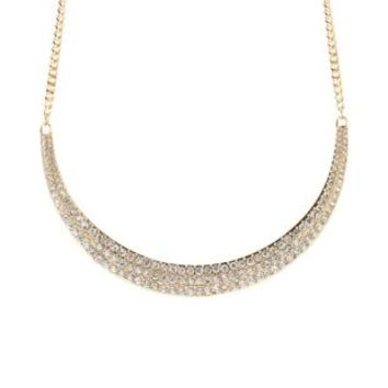 Pave Rhinestone Crescent Necklace by Charlotte Russe - Gold