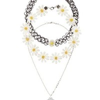 Daisy Chain & Tattoo Choker Necklaces - 3 Pack - Black