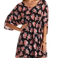 Ruched-Sleeve Floral Chiffon Dress by Charlotte Russe - Black Combo