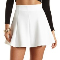 Textured Knit Skater Skirt by Charlotte Russe - Ivory