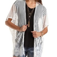 Striped Mesh & Lace Kimono Top by Charlotte Russe - Ivory