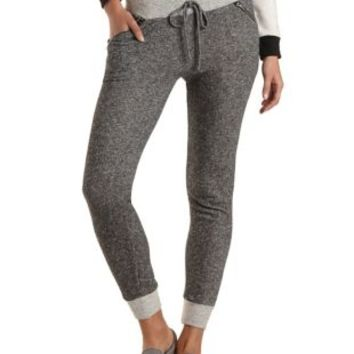 Slub Knit French Terry Jogger Pants by Charlotte Russe - Black Combo