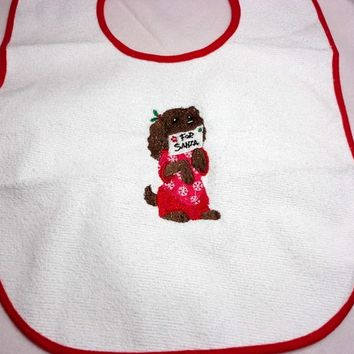 Christmas Bib Toddler Puppy Santa Embroidered Terry Vinyl Embroidered