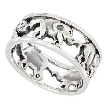 Sterling Silver Linked Elephants Ring Wedding Band 5/16 inch wide, size 8