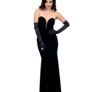 Vintage Style Black Velvet Fitted Plunging Neckline Evening Dress - New Arrivals! | Unique Vintage