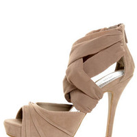 Anne Michelle Verdict 52 Taupe Stretchy Mesh and Suede Heels - $38.00