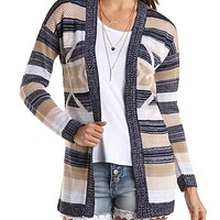 Striped Aztec Cardigan Sweater by Charlotte Russe - Taupe Combo